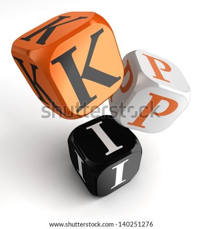 kpi dice blocks, key performance indicator - stock photo