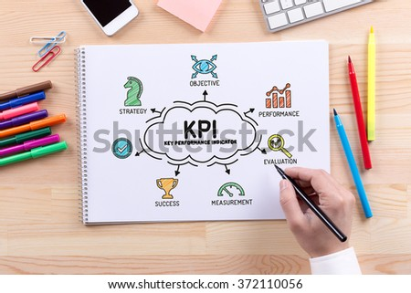 KPI Key Performance Indicator sketch on notebook - stock photo