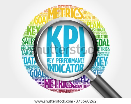 KPI - Key Performance Indicator word cloud with magnifying glass, business concept - stock photo