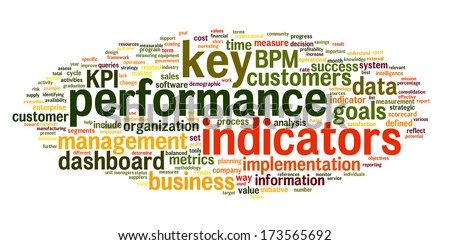 KPI key performance indicators in word tag cloud on white background - stock photo