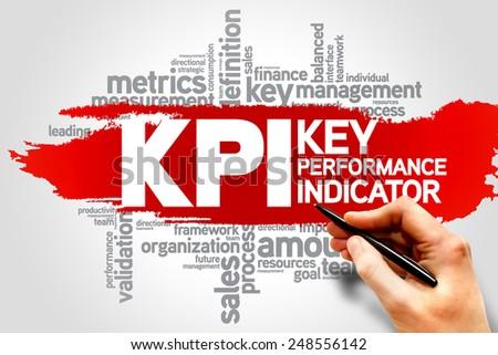 KPI, Key Performance Indicators word cloud, business concept - stock photo