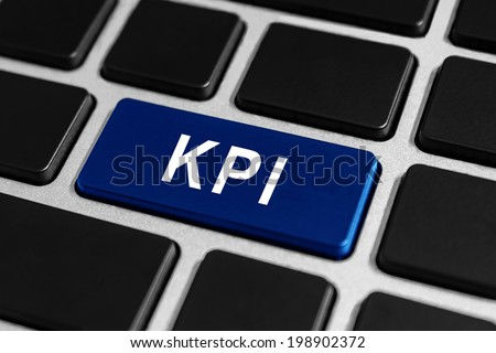 KPI or Key Performance indicator blue button on keyboard, business concept - stock photo
