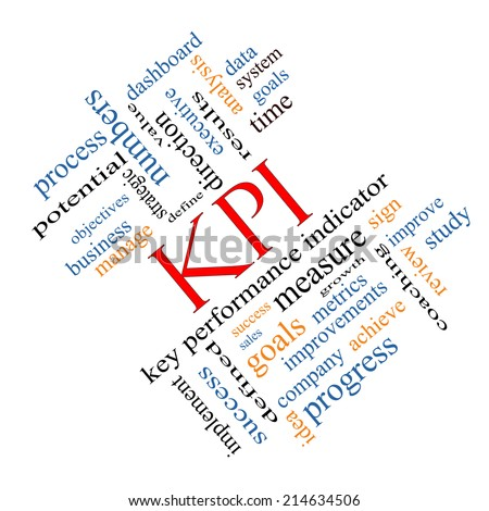 KPI Word Cloud Concept angled with great terms such as key, performance, indicators and more. - stock photo