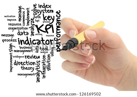 KPI wordcloud with hand - stock photo