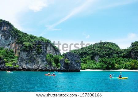 Krabi Thailand - kayak at krabi  - stock photo