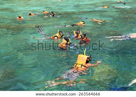 Krabi,Thailand-March 16,2015:Tourists enjoy with snorkeling in a tropical sea at Phi Phi island in Krabi, Thailand