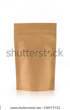 Kraft paper package isolated on white background. - stock photo