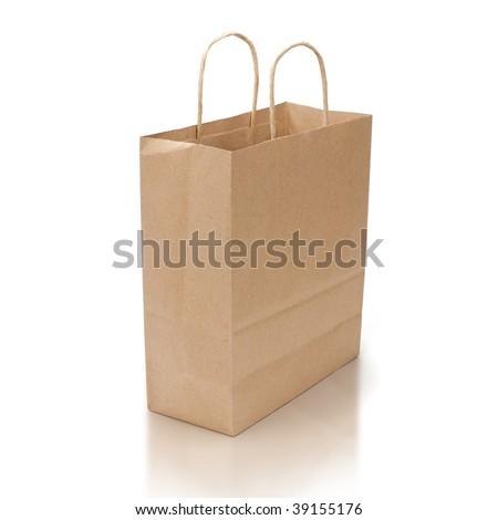 kraft shopping bag with reflection isolated on white background - stock photo