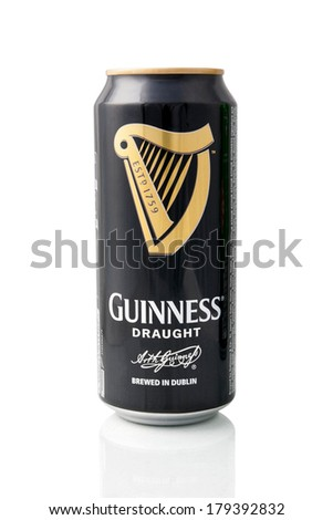 KRAGUJEVAC, SERBIA - February 28, 2014: Guinness beer can on white background. Guinness is a popular Irish dry stout originated in the brewery of Arthur Guinness at St. James's Gate, Dublin in 1759. - stock photo