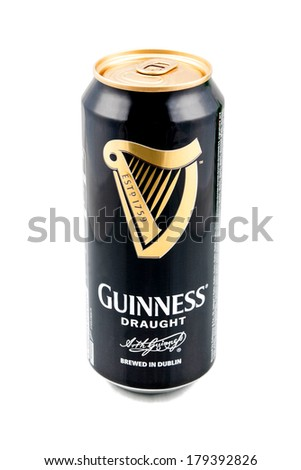 KRAGUJEVAC, SERBIA - February 28, 2014: Guinness can on white background. Guinness is a popular Irish dry stout originated in the brewery of Arthur Guinness at St. James's Gate, Dublin in 1759. - stock photo