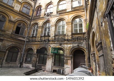 krakow - court-yard  - old town - stock photo