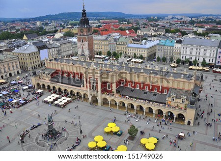 Krakow main square from above - stock photo