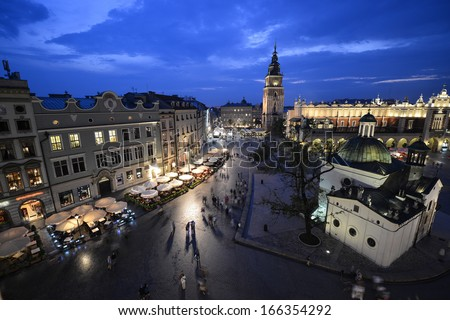 Krakow market square, Poland at night - stock photo