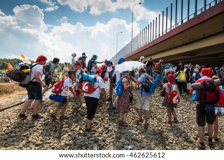 KRAKOW, POLAND - JUL 31, 2016: Unidentified participants of World Youth Day and International Catholic youth Convention, July 25-31. This year festival was visited by Pope Francis.
