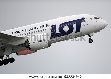 KRAKOW, POLAND - JULY 30, 2016:  Polish Airlines LOT branded Boeing 787 Dreamliner airplane started in Krakow Balice International Airport.