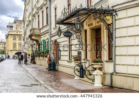 KRAKOW, POLAND - JULY 04, 2016: Poselska street in Krakow, Poland.