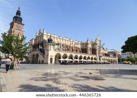 KRAKOW; POLAND - JUNE 26, 2016.:Cloth Hall on Main Market Square in sunny day. Krakow Cloth Hall dates  to the Renaissance  is one of the city's most recognizable place.