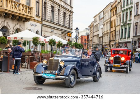 KRAKOW, POLAND - MAY 15, 2015: Classic Mercedes on the rally of vintage cars in Krakow, Poland