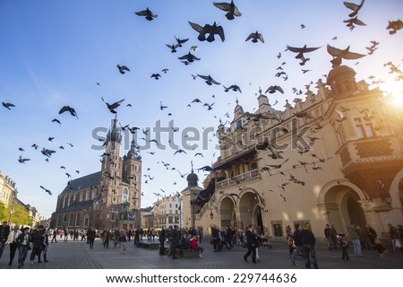 KRAKOW, POLAND - NOV 11, 2014: Unidentified participants celebrating National Independence Day an Republic of Poland - is a public holiday, celebrated every year from 1918 year. - stock photo