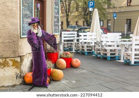 KRAKOW, POLAND - OCT 29, 2014: Scenery for celebrating Halloween in Krakow. - stock photo