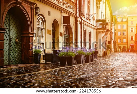 Krakow - Poland's historic center, a city with ancient architecture. - stock photo