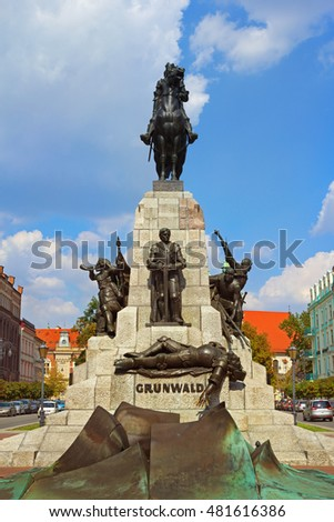 Krakow, Poland - 2 September, 2016: Monument in honor of the victory of the Polish-Lithuanian troops in the battle over the crusaders near Grunwald 1410 at the Square of Jan Mateiko.