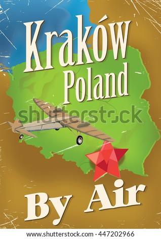 Krakow Poland vintage style travel poster. - stock photo