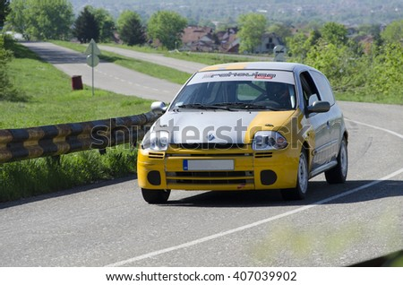 KRALJEVO, SERBIA - APRIL 16. 2016:  Uphill car race for open and national championship of Serbia. Driver Srdjan Zivkovic. Car Renault Clio. Over 2000 ccm Open - stock photo