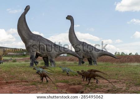 KRASIEJOW, POLAND - 29 April 2015 JuraPark, Models of dinosaurs in open-air museum. Krasiejow, Poland. - stock photo