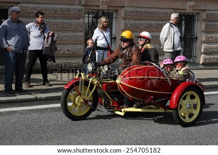 KRASNA LIPA, CZECH - AUGUST 30 2014: 16th year of the international meeting of unique vintage Cechie-Bohmerland motorcycles in Krasna Lipa. Photo from great motorcycle parade. Public-event.  - stock photo