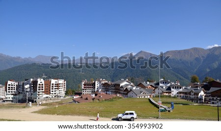 KRASNAYA POLYANA, SOCHI, RUSSIA, 26, SEPTEMBER, 2015: View of the Rose Farm, Krasnaya Polyana, Sochi, Russia. Built for the 2014 Olympic Games.