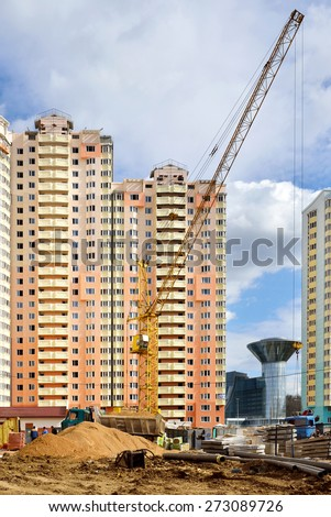 KRASNOGORSK, RUSSIA - APRIL 22, 2015:Krasnogorsk is city and center of Krasnogorsky District in Moscow Oblast located on Moskva River. Area of residential development is about 2 million square feet - stock photo