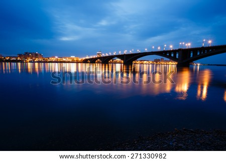 Krasnoyarsk, Russia - May 9, 2014: decline, river Yenisei, municipal bridge view of the city