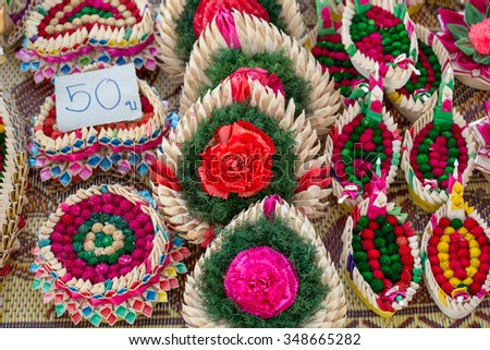 Kratongs for Loy Kratong Festival in Thailand - stock photo