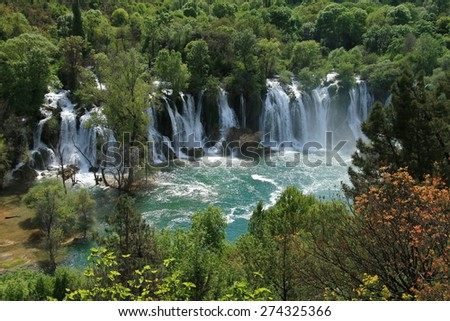 Kravice waterfalls and Trebizat river in Bosnia and Herzegovina - stock photo