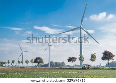KREFELD / GERMANY - OCTOBER 20 2015 - Wind power generator rotating on the field