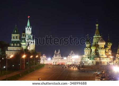 Kremlin and St. Basil cathedral at night - stock photo