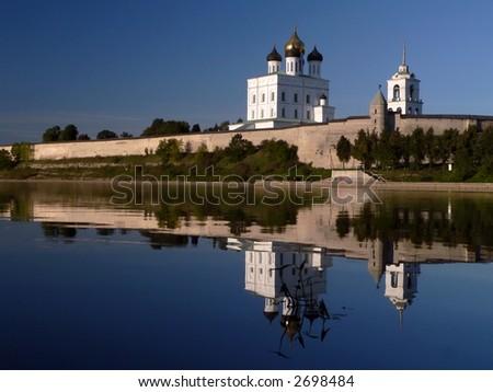 Kremlin of Pskov on Velikaya river. Russia. - stock photo