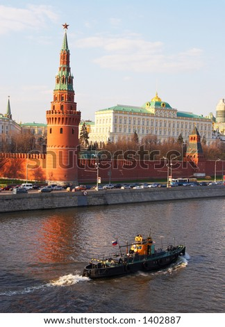 Kremlin's tower at Red Suare and river in Moscow. Russia - stock photo