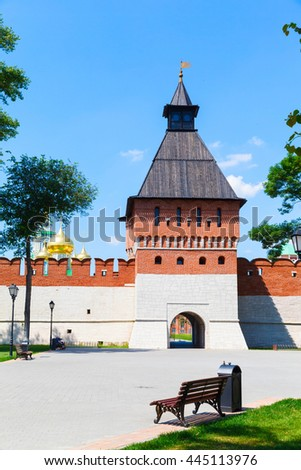 Kremlin tower on a background of blue sky in the town of Tula, Russia - stock photo