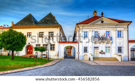 Kremnica, Slovakia - May 22, 2016: Town hall in medieval mining town of Kremnica in central Slovakia. HDR image.