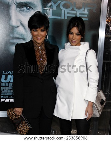 "Kris Jenner and Kim Kardashian at the Los Angeles Premiere of ""Unknown"" held at the Regency Village Theatre in Los Angeles in Los Angeles, California, United States on February 16, 2011. - stock photo"