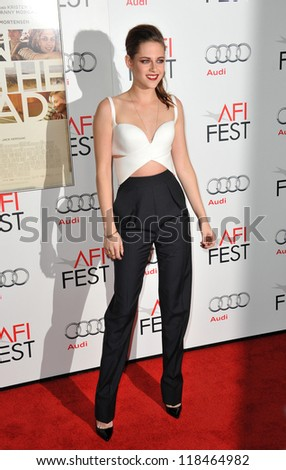"Kristen Stewart at the AFI Fest premiere of her movie ""On The Road"" at Grauman's Chinese Theatre, Hollywood. November 3, 2012  Los Angeles, CA"