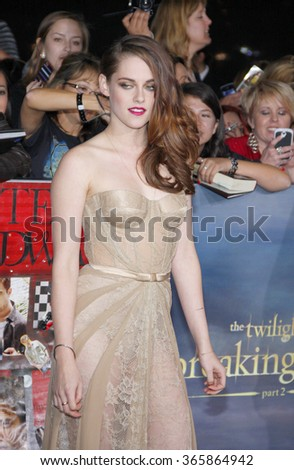 """Kristen Stewart at the Los Angeles Premiere of """"The Twilight Saga: Breaking Dawn - Part 2"""" held at the Nokia L.A. Live Theatre in Los Angeles, USA on November 12, 2012.  - stock photo"""