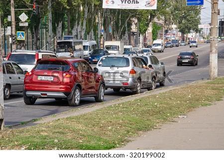 Krivoy Rog, Ukraine - September 22, 2015: Traffic jams in the city, road, rush hour - stock photo