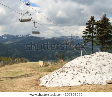 Krkonose  mountains scenery, early spring, Czech Republic - stock photo