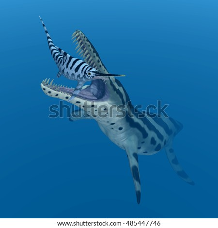 Kronosaurus attacks Eurhinosaurus Computer generated 3D illustration
