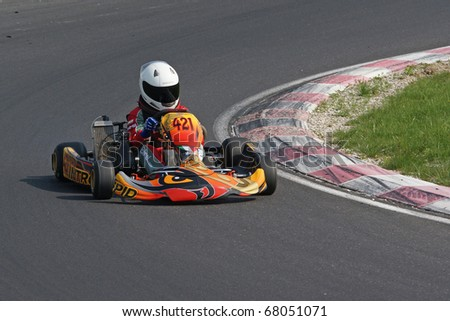 KRSKO, SLOVENIA - APRIL 17 : Karting race on Raceland track in Slovenia, driver unidentified, april 17, 2010 in Krsko, Slovenia