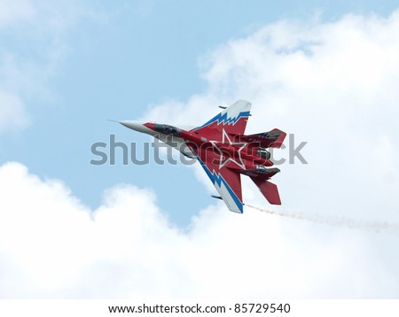 KRUMOVO, BULGARIA - SEPTEMBER 03: A MIG - 29 OVT from the Russian Air Force participates in the 2011 Eight Air Festival BIAF on September 3, 2011 in Krumovo, Bulgaria.