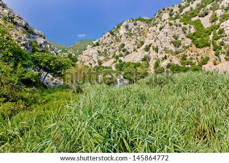 Krupa river canyon green nature and waterfall, Dalmatia, Croatia